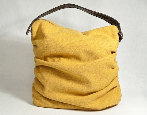 Katherine Emtage Mustard Ruche Slouch Harris Tweed Front2