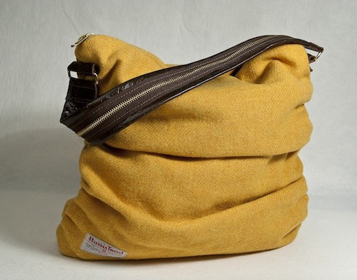 Katherine Emtage Mustard Ruche Slouch Harris Tweed Reverse