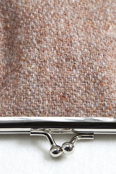 Katherine Emtage Pale Salmon Clasp Purse Harris Tweed Detail