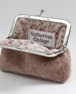 Katherine Emtage Pale Salmon Clasp Purse Harris Tweed Open