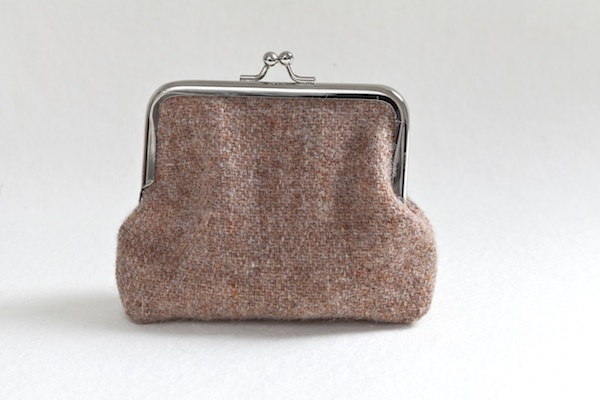 Katherine Emtage Pale Salmon Harris Tweed Clasp Purse