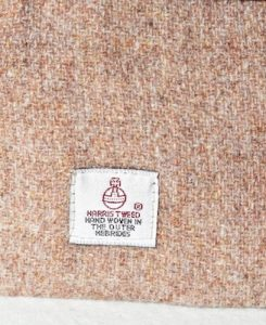 Katherine Emtage Pale Salmon Pochette Harris Tweed Label Detail
