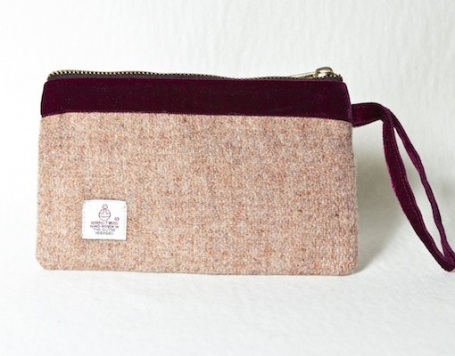 Katherine Emtage Pale Salmon Pochette Harris Tweed