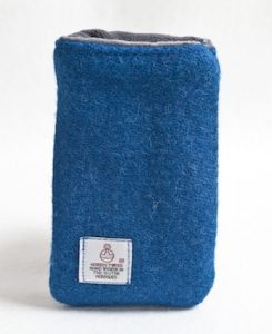 Katherine Emtage Peacock Blue Phone case Harris Tweed 2