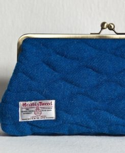 Katherine Emtage Peacock Blue Sargasso Clutch Detail Harris Tweed