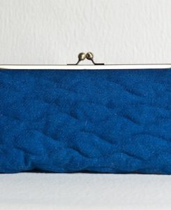 Katherine Emtage Peacock Blue Sargasso Clutch Harris Tweed