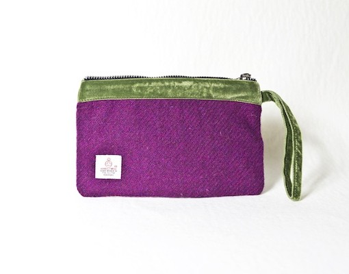 Katherine Emtage Pochette grape reverse Harris Tweed