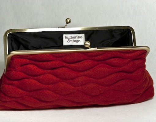 Katherine Emtage Poppy Sargasso Clutch Open Borders Tweed