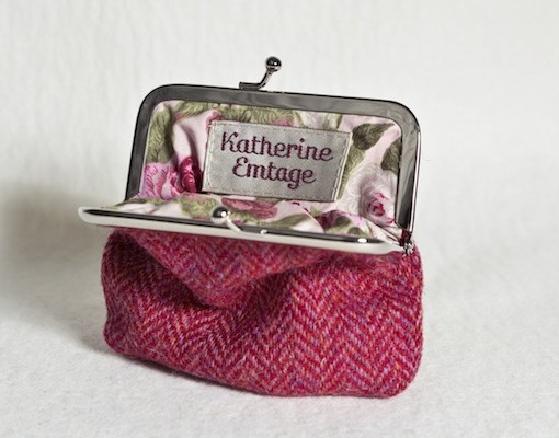 Katherine Emtage Raspberry Herringbone Clasp Purse Harris Tweed Open