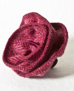 Katherine Emtage Raspberry Herringbone Corsage Harris Tweed 2