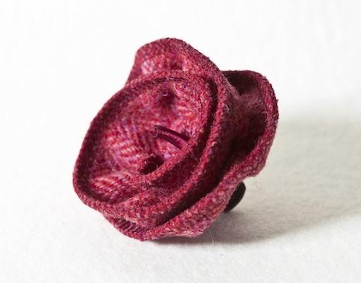 Katherine Emtage Raspberry Herringbone Corsage Harris Tweed 2