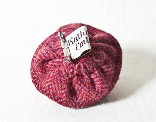 Katherine Emtage Raspberry Herringbone Corsage Harris Tweed Reverse