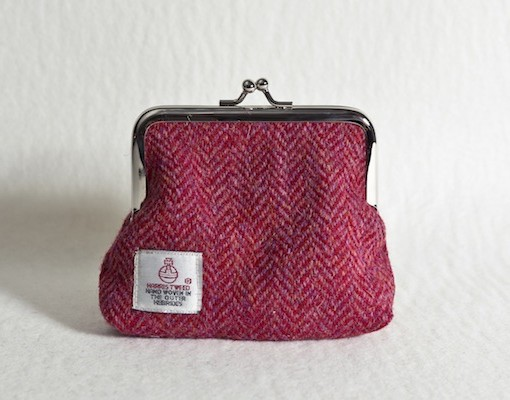 Katherine Emtage Raspberry Herringbone Harris Tweed Clasp Purse Reverse
