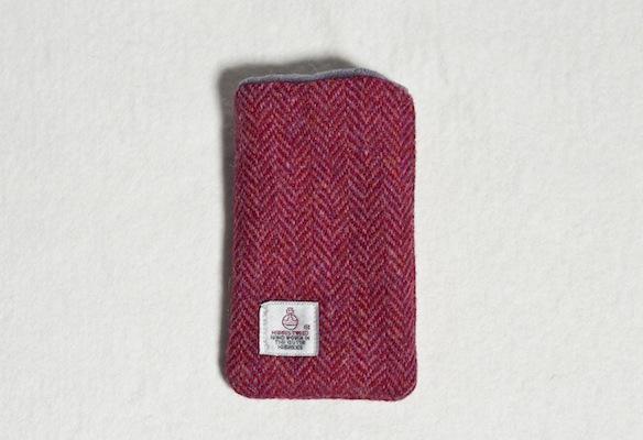 Katherine Emtage Raspberry Herringbone Harris Tweed Phone Case Reverse