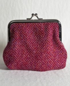 Katherine Emtage Raspberry Houndstooth Harris Tweed Clasp Purse