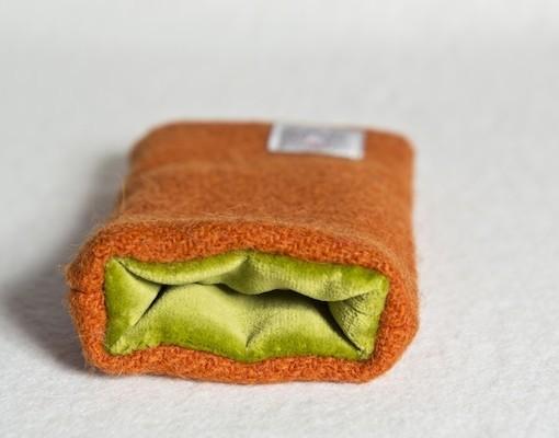 Katherine Emtage Tangerine Phone Case Harris Tweed Chartreuse Lining
