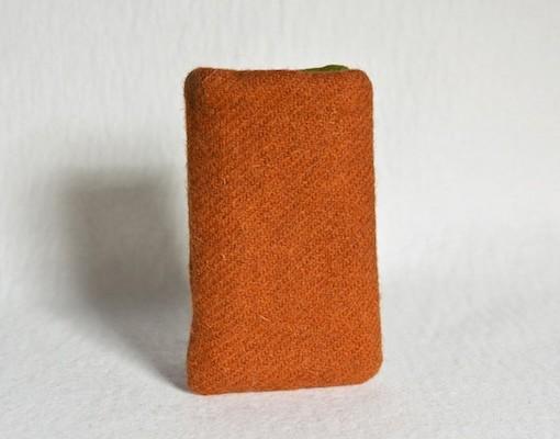 Katherine Emtage Tangerine Phone Case Harris Tweed Front