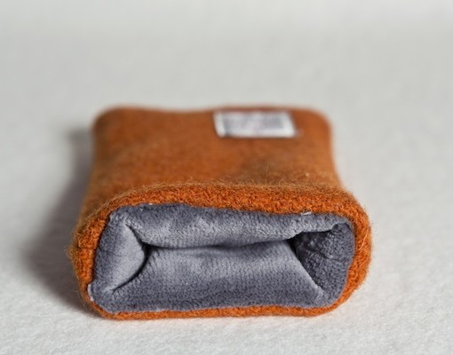 Katherine Emtage Tangerine Phone Case Harris Tweed Grey Lining