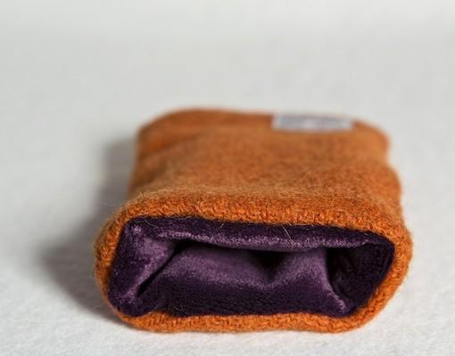 Katherine Emtage Tangerine Phone Case Harris Tweed Purple Lining