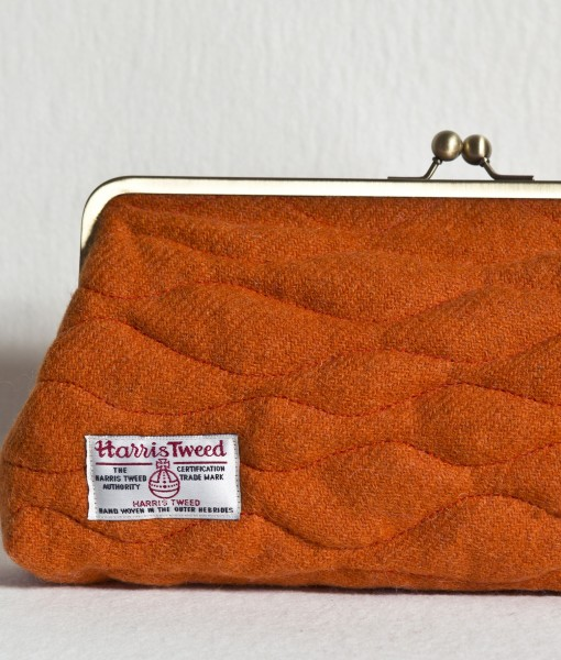 Katherine Emtage Tangerine Sargasso Clutch Harris Tweed Label detail