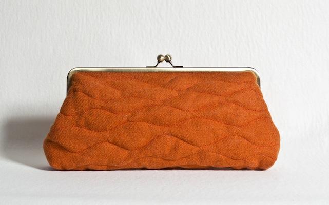 Katherine Emtage Tangerine Sargasso Clutch Harris Tweed