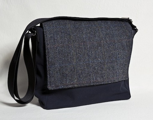 Katherine Emtage Ultimate Man Bag Black Harris Tweed PU Nylon Front