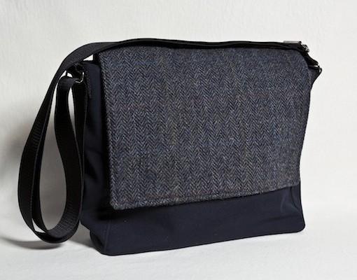 Katherine Emtage Ultimate Man Bag Black Harris Tweed PU Nylon Front