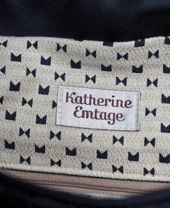 Katherine Emtage Ultimate Man Bag Black Harris Tweed Scottish Black Leather Detail
