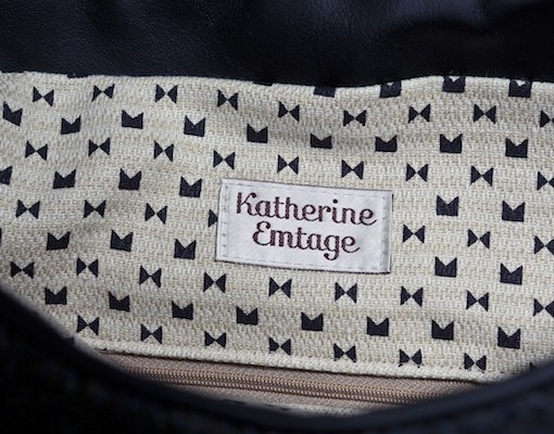 Katherine Emtage Ultimate Man Bag Black Harris Tweed Scottish Black Leather Detail