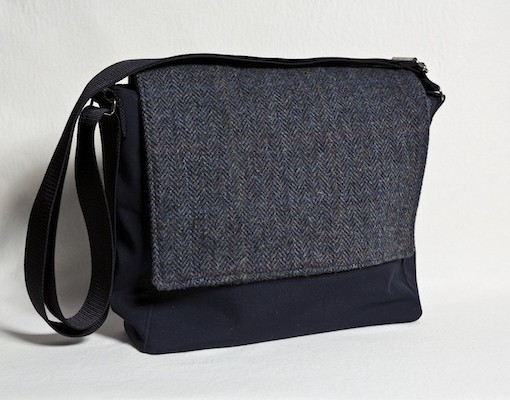 Katherine Emtage Ultimate Man Bag PU nylon black front Harris Tweed