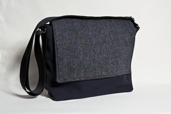 Katherine Emtage Ultimate Man Bag PU nylon black front Harris Tweed