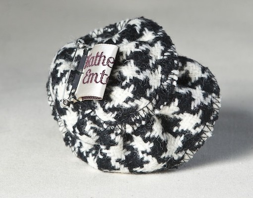 Katherine Emtage black and white houndstooth corsage Borders tweed reverse