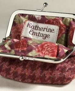 Katherine Emtage clasp purse raspberry houndstooth open