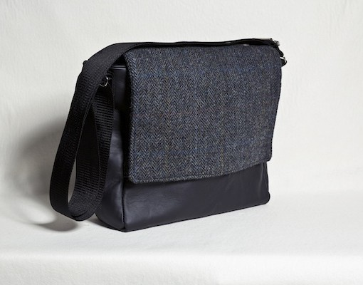 Katherine Emtage leather ultimate man bag harris tweed black charcoal