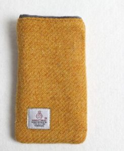 Katherine Emtage mustard Harris Tweed phone iPod case