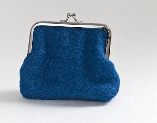 Katherine Emtage peacock Harris tweed clasp purse