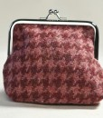 Katherine Emtage raspberry houndstooth Borders tweed clasp purse