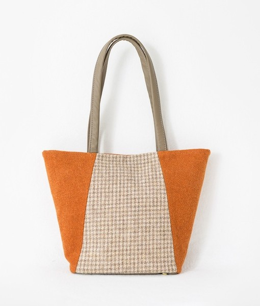 Katherine Emtage Anna Day Bag Tangerine biscuit Harris Tweed