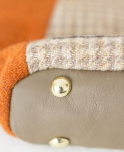 Katherine Emtage Anna Day Bag base detail Harris Tweed tangerine biscuit