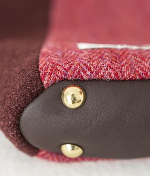 Katherine Emtage Anna Day Bag base detail rasp cherry Harris Tweed