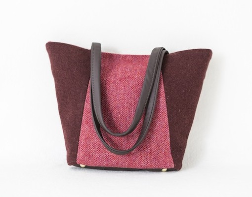 Katherine Emtage Anna Day Bag cherry raspberry Harris Tweed front