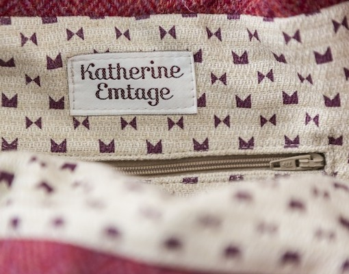 Katherine Emtage Anna Day Bag internal detail rasp cherry Harris Tweed