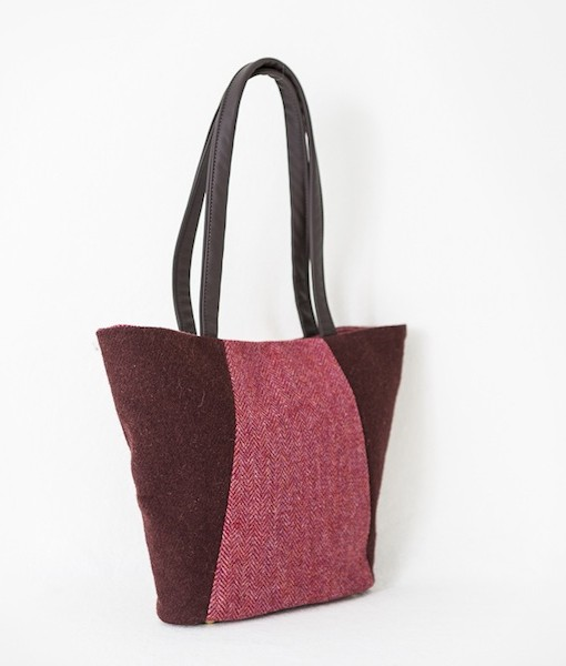 Katherine Emtage Anna Day Bag rasp cherry angle Harris Tweed