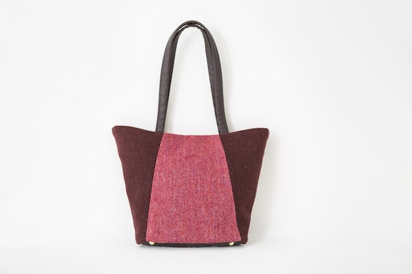 Katherine Emtage Anna Day Bag rasp cherry front Harris Tweed