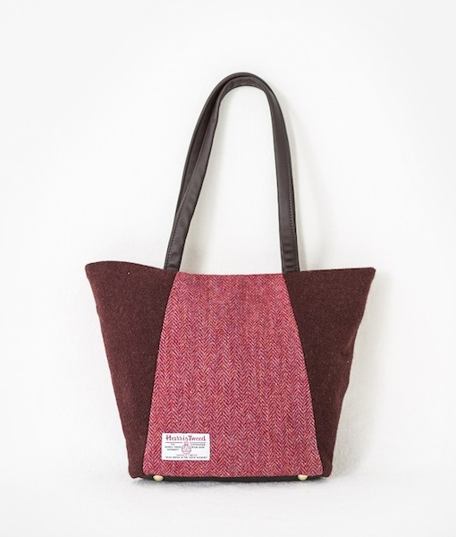 Katherine Emtage Anna Day Bag reverse raspberry cherry Harris Tweed