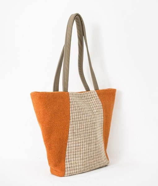 Katherine Emtage Anna Day Bag side tangerine biscuit Harris Tweed