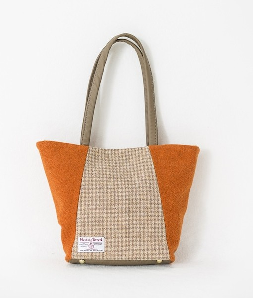 Katherine Emtage Anna Day Bag tangerine biscuit reverse Harris Tweed