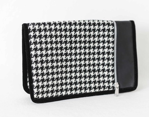 Katherine Emtage Day to Night Clutch Black and white houndstooth
