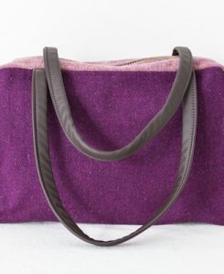 Katherine Emtage Elsie Day Bag Grape Heather Harris Tweed front