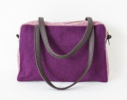 Katherine Emtage Elsie Day Bag Grape Heather Harris Tweed front